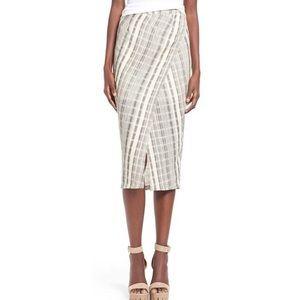 ASTR Natural Plaid Wrap Front Midi Skirt Size Med